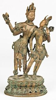 Shiva and Parvati Bronze Indian Deity Group