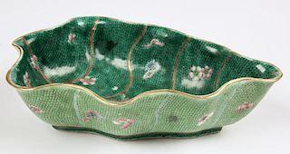 Antique Chinese Leaf Form Enamel Bowl