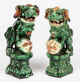 Pair Chinese Sancai Glazed Foo Dogs
