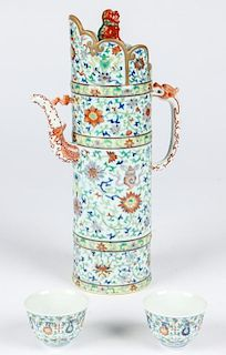 Large Chinese Porcelain Ewer w/Lid and 2 Cups