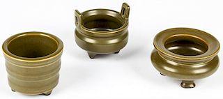 3 Chinese Celadon Tripod Censers