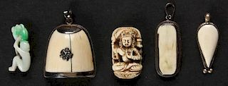 Asian Suite of Antique Ivory and Jade Artifacts