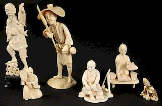 Suite of 6 Antique Chinese and Japanese Carved Ivory or Bone Artifacts