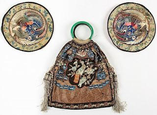 3 Chinese Embroidered Silk Items