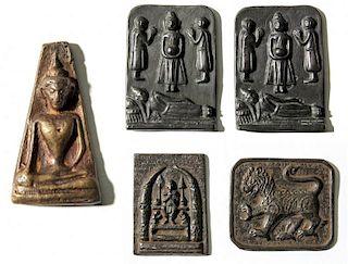 5 Vintage Thai Buddhist Metal Artifacts
