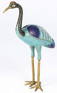 Chinese Cloisonne Figural Crane