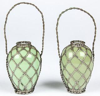 Pair Chinese Celadon Pendant Bottles