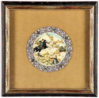 Framed Moghul Style Circular Painting