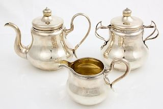 Russian Imperial 3 Pc. Gilt Silver Coffee Set, 1856