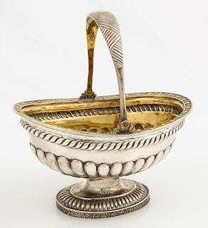 19th C. Russian Imperial Gilt Silver Basket, St. Petersburg