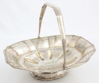 19th C. Russian Silver Judaica Basket, Hallmarks