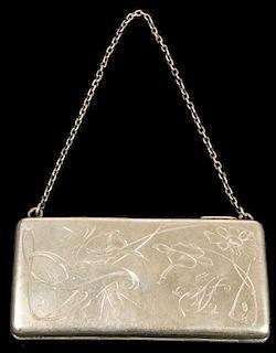Antique Ladies Hand Engraved Silver Purse