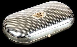 Antique Russian Silver Cigarette Case w/Gold Imperial Eagle
