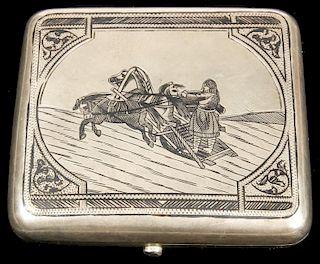Antique Russian Silver Niello Cigarette Case