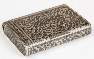 Antique Russian Silver Niello Box w/Match Safe