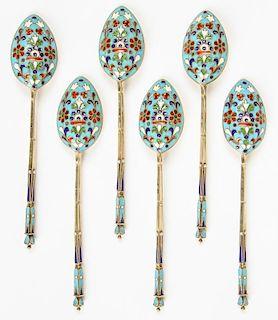 Set of 6 Russian Imperial Silver Enamel Tea Spoons