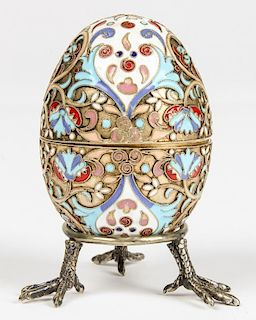 Antique Russian Silver Enamel Egg on Stand, Hallmarks