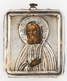 Antique Russian Travel Icon, St Serafin