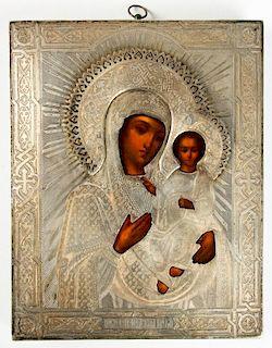 Antique Russian Icon: Smolenskay Mother of God in Silver Oklad