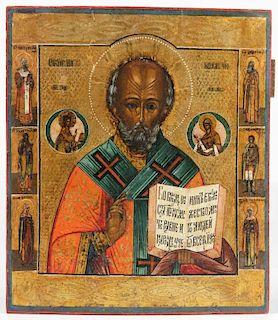 Antique Russian Icon, 19th c., St. Nicholas