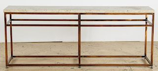 Milo Baughman Inspired Travertine Top Console Table