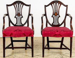 Pair Antique American Sheraton Shield Back Chairs