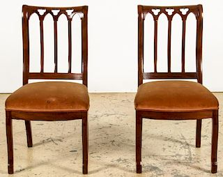 Pair Antique English Gothic Side Chairs