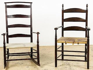 2 Antique Shaker Ladderback Chairs