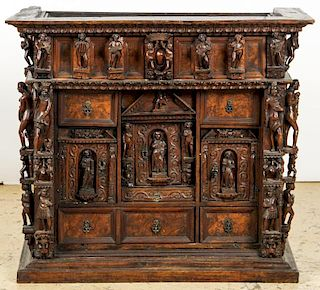 Vargueno Spanish Carved Figural Cabinet, 17th/18th C