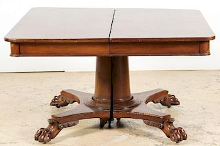 Antique Claw-Foot Pedestal Dining Table