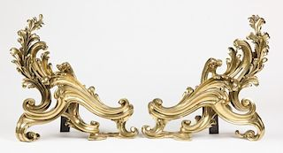 Pair of Gilded Bronze Rococo Chenets