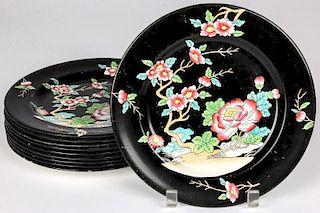 Antique Mason's Ironstone Black Chinese Plates
