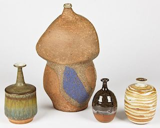 4 Contemporary Art Pottery Vessels