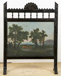 American 19th C. Painted Fire Screen w. Oil on Canvas Panel
