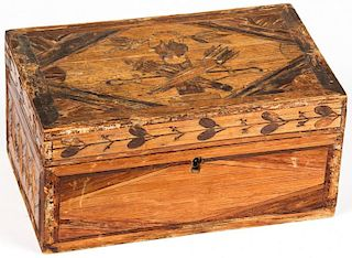 Folk Art Marquetry Keepsake Box