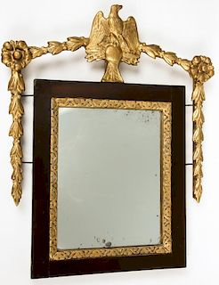 Antique American Federal Mirror w. Gilt Eagle Crest