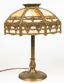 Bradley and Hubbard Glass Panel Lamp