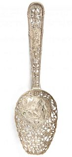 Antique German Silver Pierced Repousse Spoon