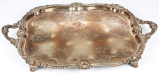 Large Crested Silverplated Salver