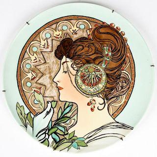 Jean Pouyat Limoge Art Nouveau Painted Plate