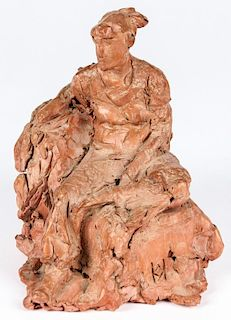 Seated Clay Figure Sculpture