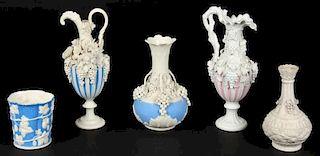 Suite of 5 Antique Parian Ware Vessels