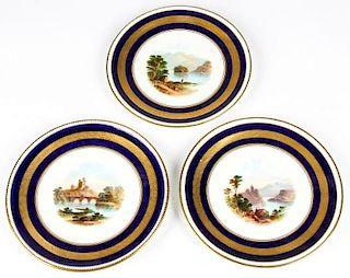 3 Antique Landscape Portrait Cabinet Plates