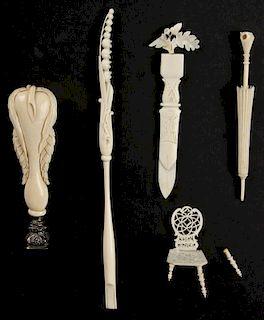 Suite of 5 Antique Carved Ivory or Bone Bibelots