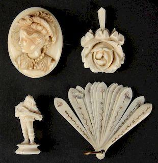 Suite of 4 Antique Carved Ivory or Bone Bibelots