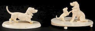 Suite of 2 Antique Continental Carved Ivory or Bone Canine Figures