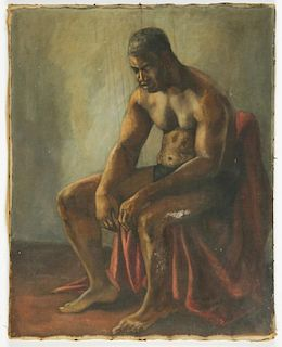 Mid 20th C Boxer Painting Signed Gwyne '53
