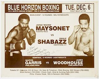 Vintage 1988 Blue Horizon Boxing Poster
