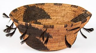Pomo Coiled Basket with Feathers