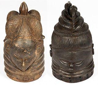 2 Mende Masks, Sande Society, Sierra Leone